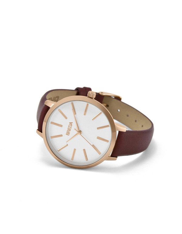 Breda Joule Watch Rose Gold Maroon