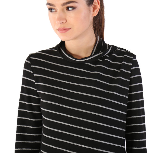 Shay & Coco Asymmetrical Zip Cardigan in Black & White Stripe