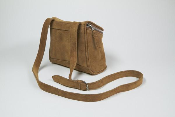 Clyde Camera Bag in Golden Brown Suede