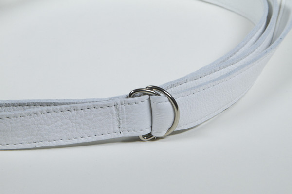 Clyde Copy of Copy of Double D Ring Belt in White Calf Leather