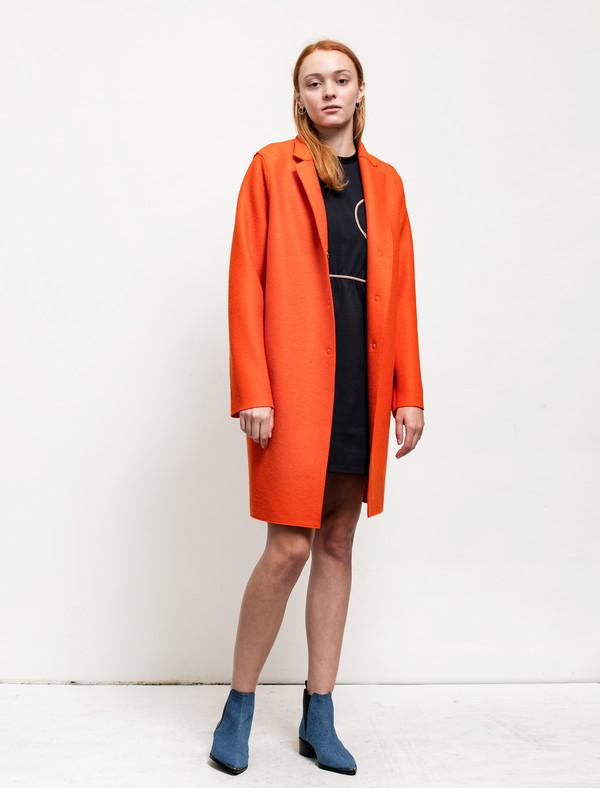 Harris Wharf Womens Cocoon Coat Pressed Wool Orange