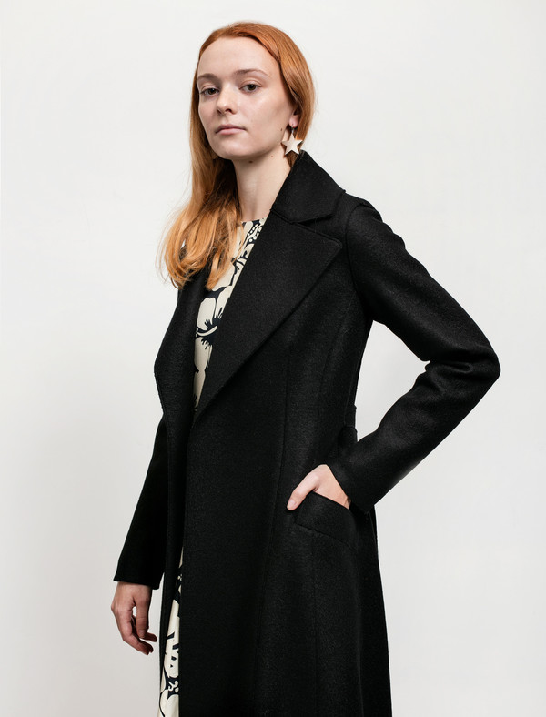 Harris Wharf Womens Long Duster Coat Pressed Wool Black