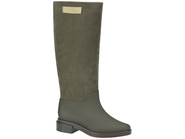 Melissa Long Boot Flocked Green