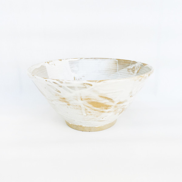Harrison Martin Large White and Brown Bowl