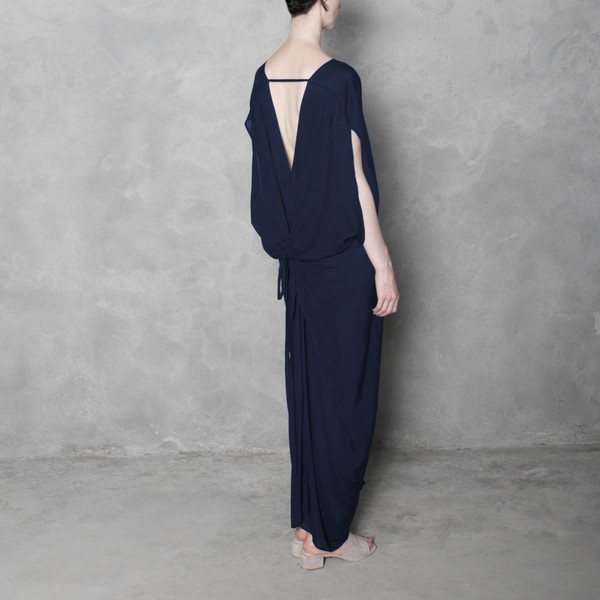 7115 by Szeki Signature Kimono Maxi Dress - Navy