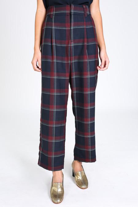 Suno Pleat front trouser in wine