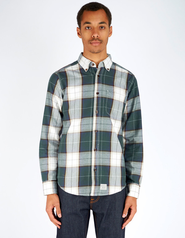 Men's Deus Albie Brushed Check LS Shirt Green Check