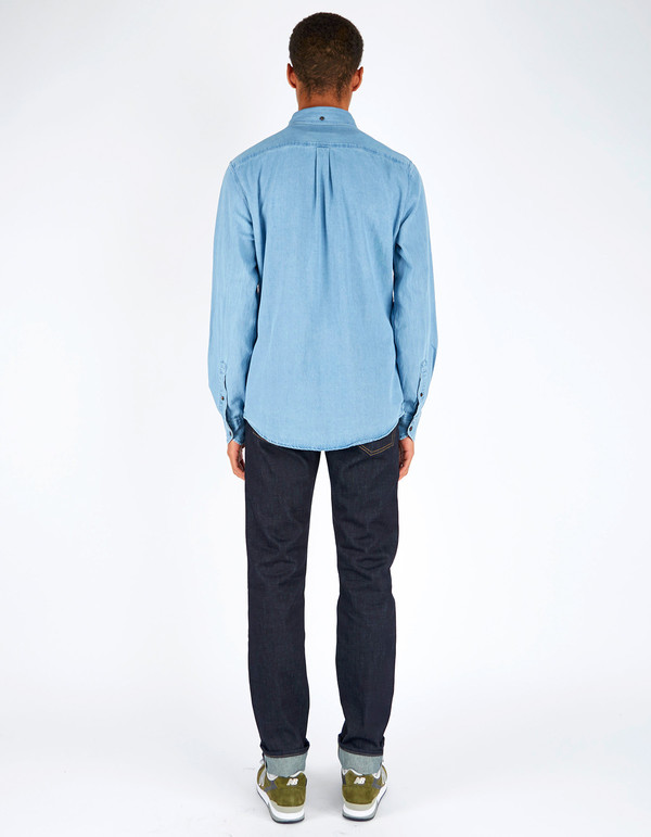 Men's Deus Albie Denim Shirt Bleach Indigo