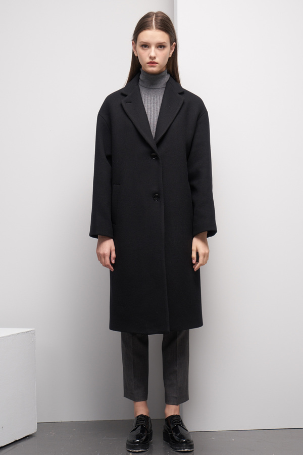 LOOKAST Oversized Single Breasted Coat- Black