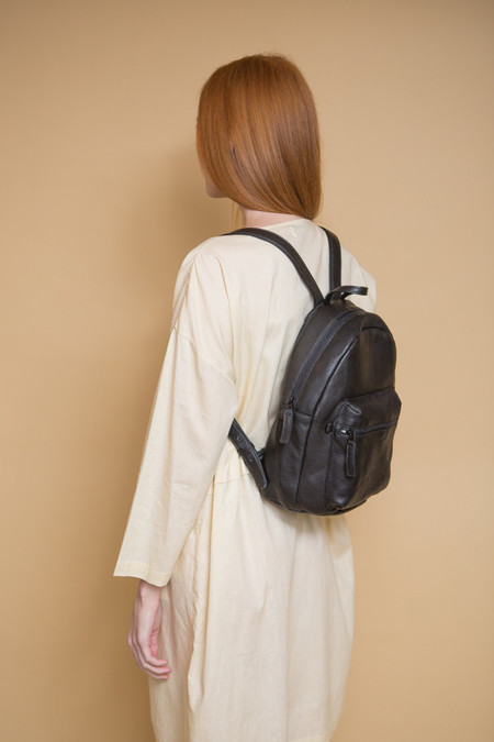 BAGGU Leather Backpack / Black