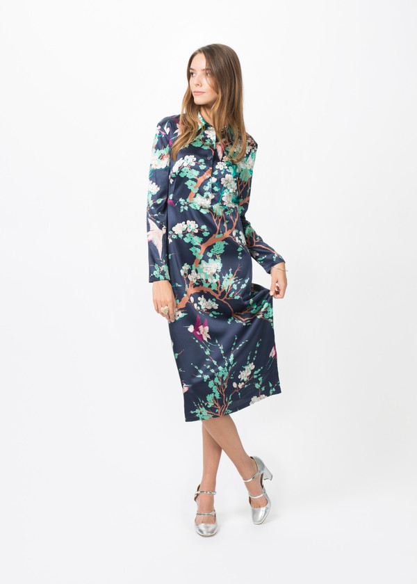Laura Urbinati Silk Long Sleeve Collared Dress