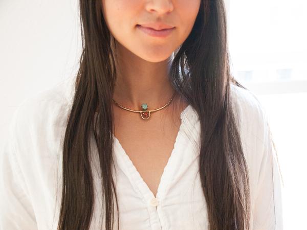 Laurel Hill Jewelry Arche Collar // Amazonite & Red Jasper