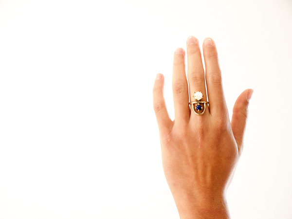 Laurel Hill Jewelry Arche Ring // Moonstone & Lapis