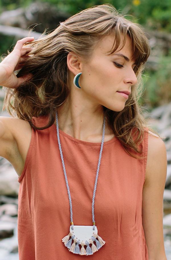 Gamma Folk Crescent Earrings