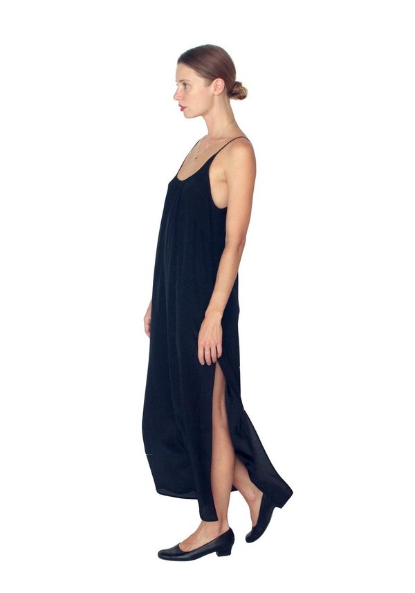 Strathcona Black Silk Slip Dress
