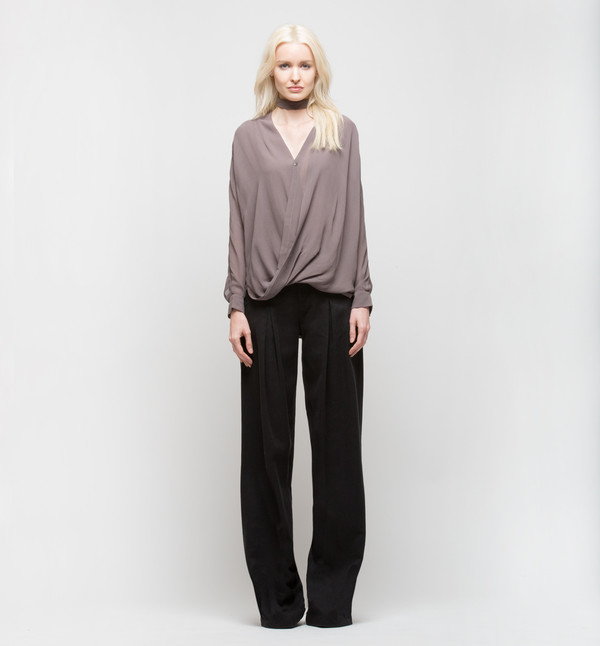 Laura Siegel Draped Top with Collar Light Lavender