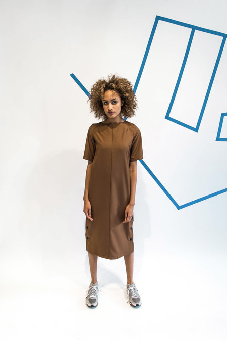 Wolcott : Takemoto Hamlet Dress - Silty Brown
