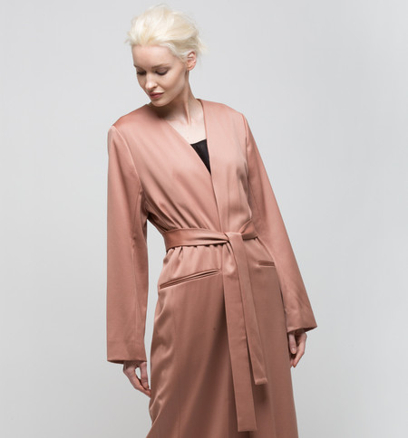 Ryan Roche Long Collarless Jacket Rose Sable