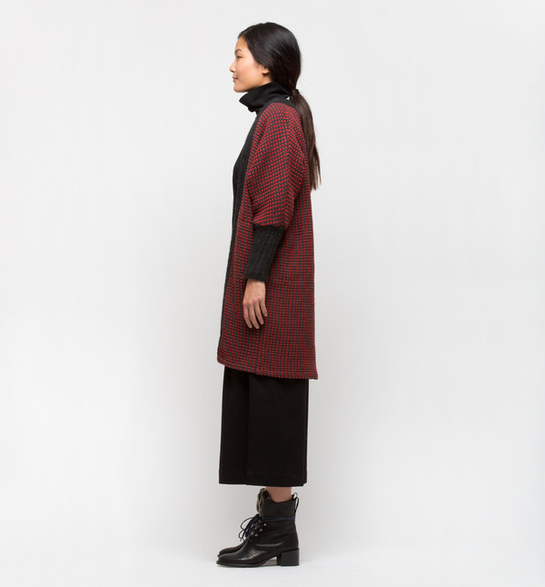 Lemlem Tolo Knit Trim Long Cardigan Rust