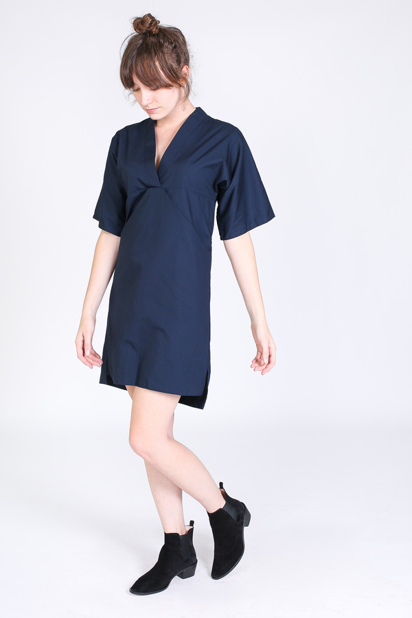 SBJ Austin Kelly dress in navy poplin