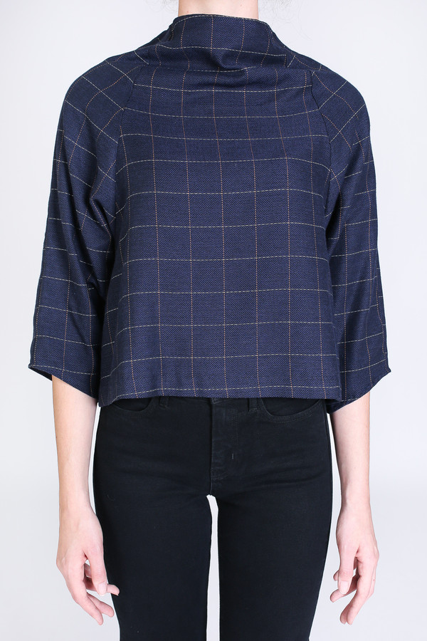 SBJ Austin Lisa top in navy windowpane