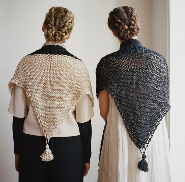 good night, day LIMITED Kirkendall wrap w/ tassles (shown in fawn & black baby llama wool)