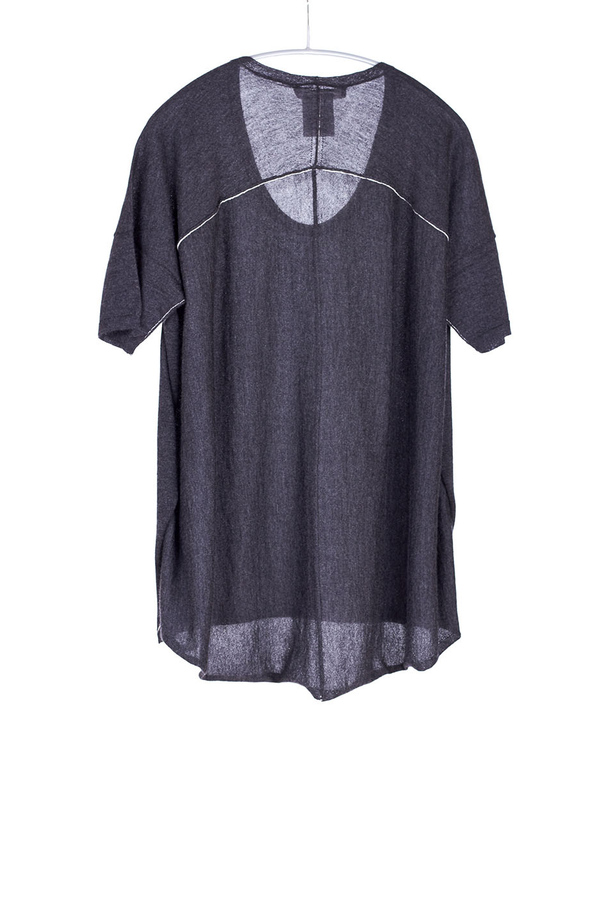 Paychi Guh Cashmere Boxy Tee Charcoal