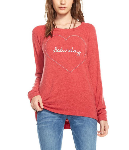 Chaser LA Chaser Saturday Love Long Sleeve in Red