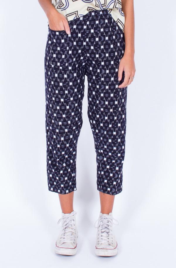 Navy Ikat Print Pants (Small)