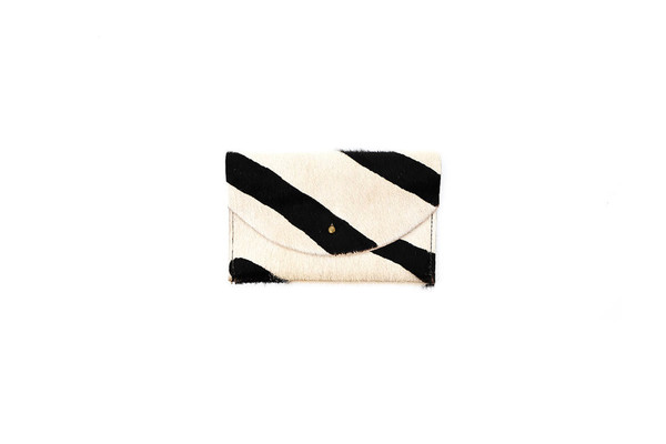 Primecut PASSPORT CLUTCH - TAN STRIPED