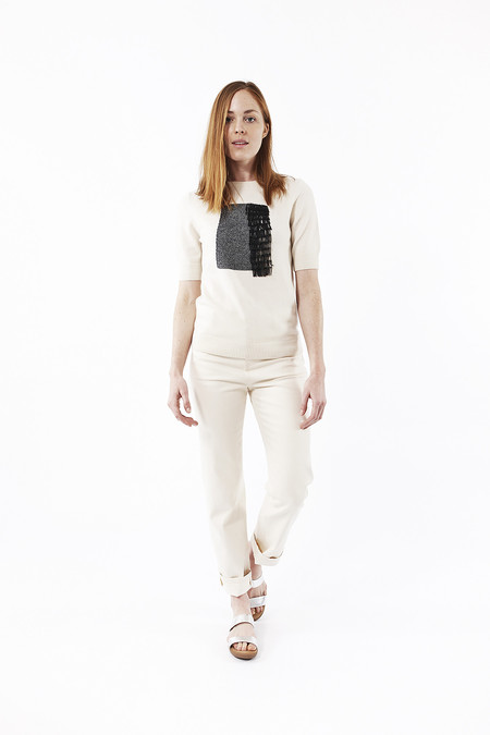 Cashmere In Love Beaded Fringe Pullover in Ivory