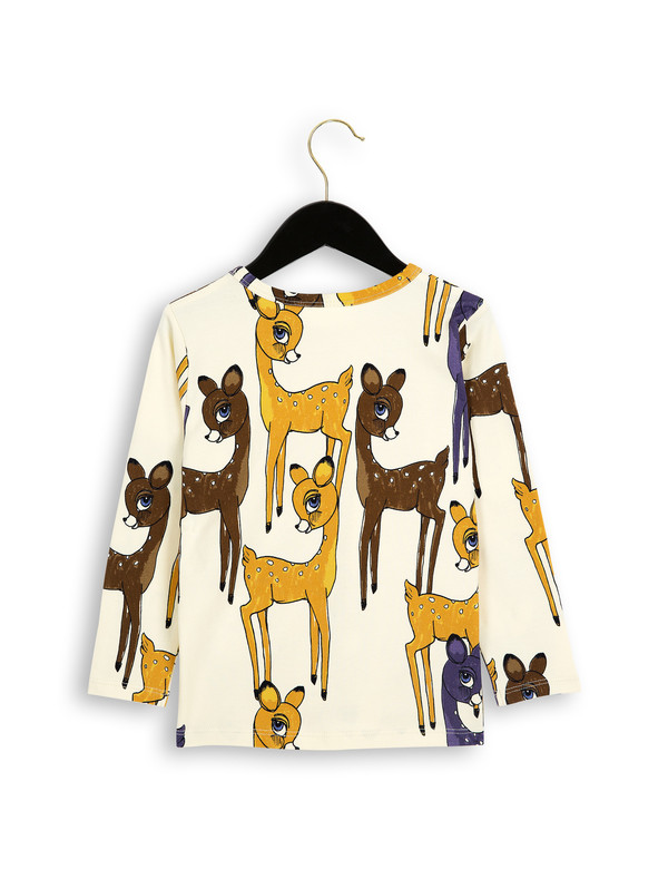 Kid's Mini Rodini ROE DEER LONG SLEEVE T-SHIRT - BROWN