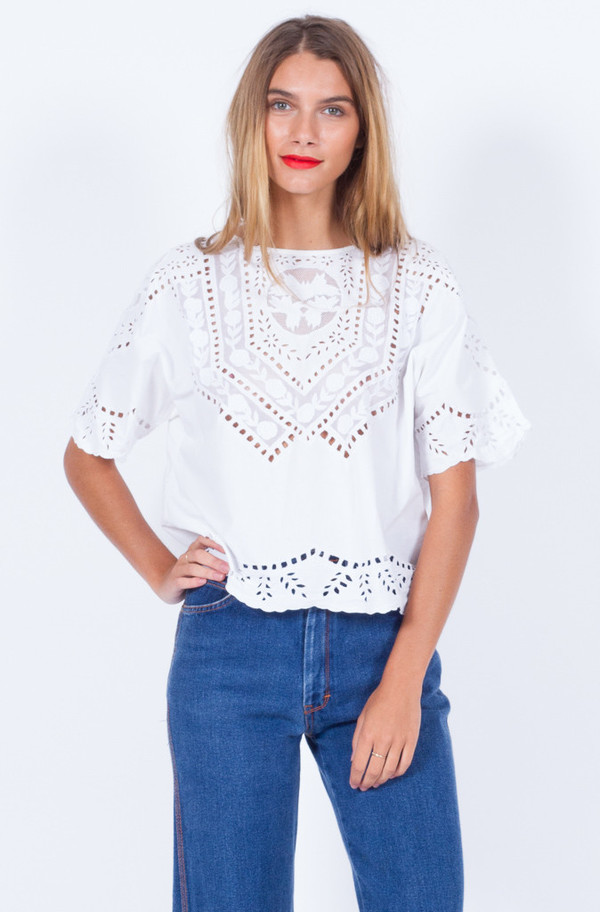 Yo Vintage! WHITE COTTON CUT OUT BLOUSE (SMALL-MEDIUM)