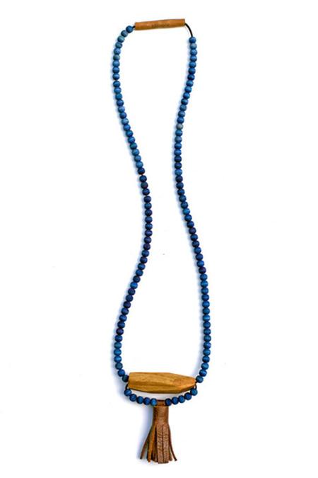 Ashwood Avenue Indigo Leather & Wood Necklace