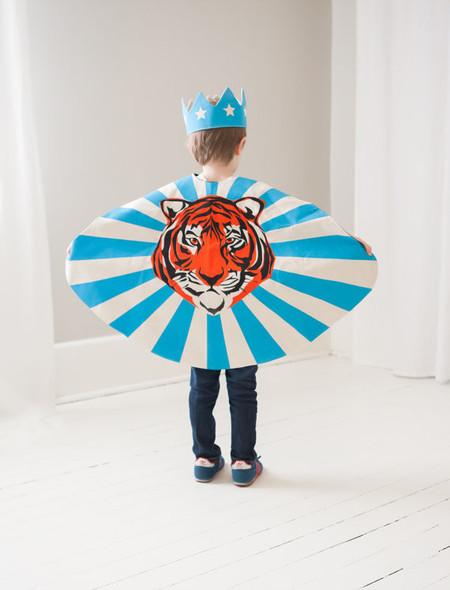 Lovelane Designs Tiger Cape in Blue Orange & Black