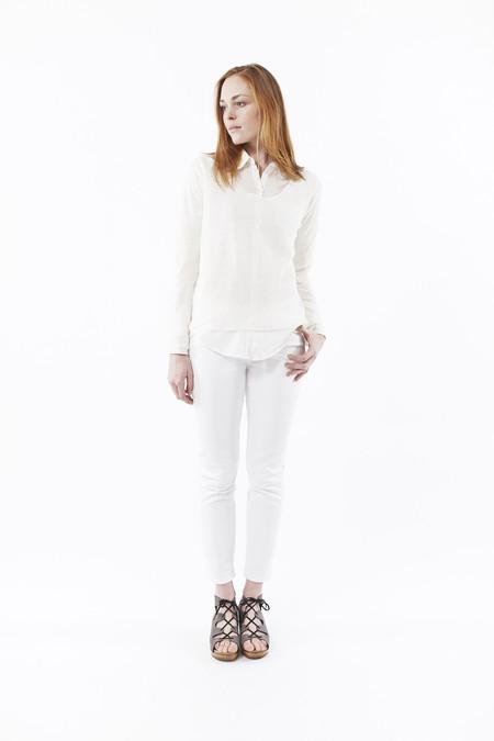 NILI LOTAN U Neck Raglan Sweater in Ivory