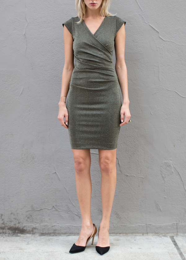 Nicole Miller Metallic Side Tuck Dress