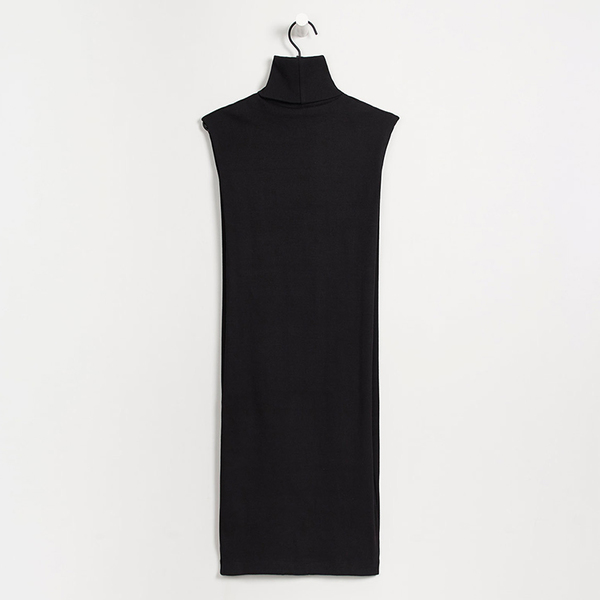 Kowtow Building Block rib roll neck dress - black