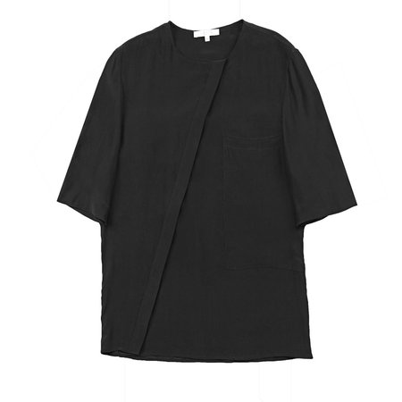 Vincetta Black Asymmetrical Placket shirt