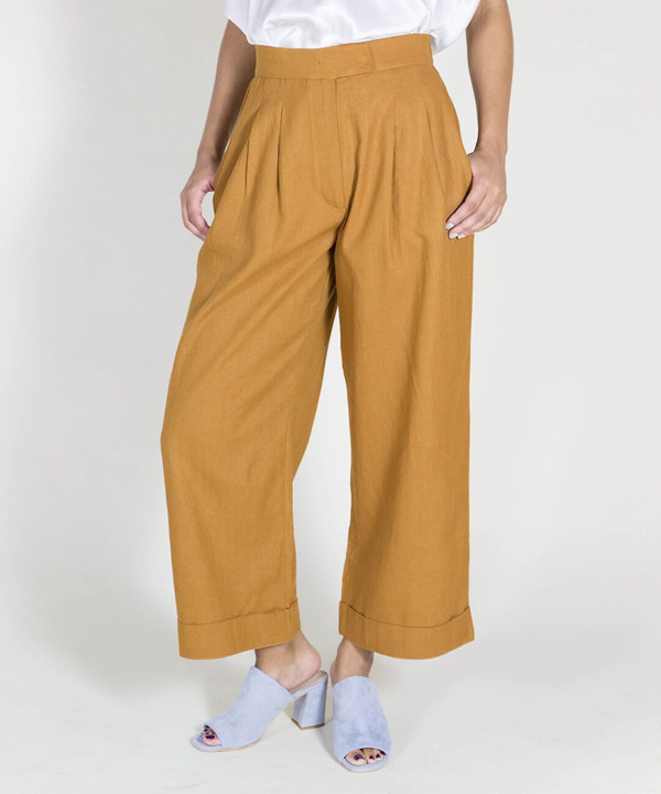Ali Golden Rust Roll Cuff Pants