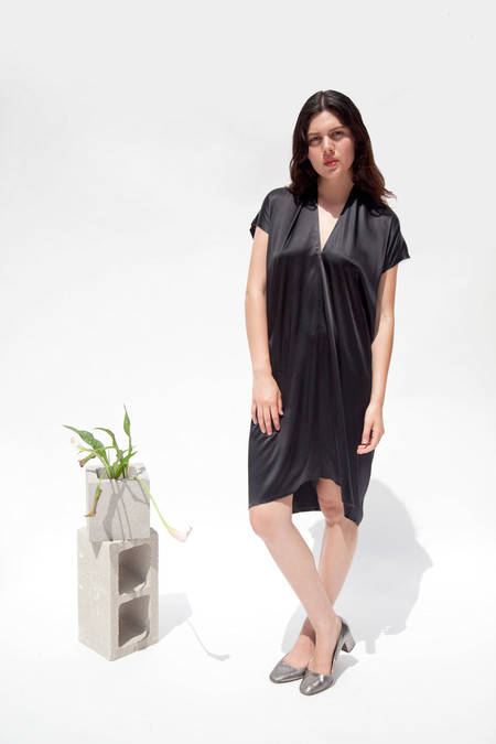 Miranda Bennett In-Stock: Everyday Dress, Silk Charmeuse in Black