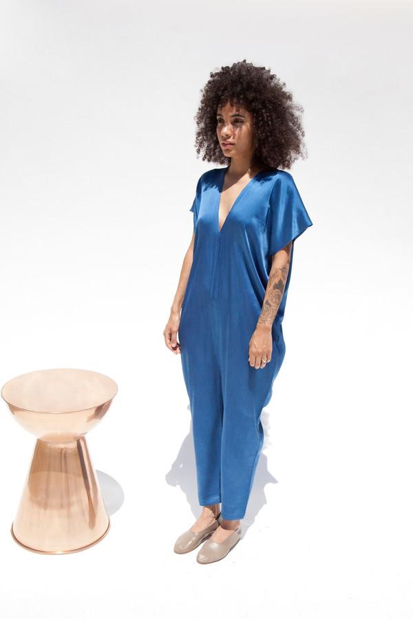 Miranda Bennett In-Stock: Everyday Jumpsuit, Silk Charmeuse in Indigo