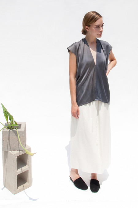 Miranda Bennett In-Stock: Everyday Top, Silk Charmeuse in Slate