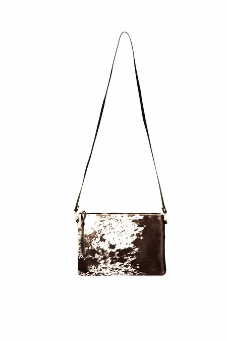 Oliveve queenie cross body in brown natural hair calf