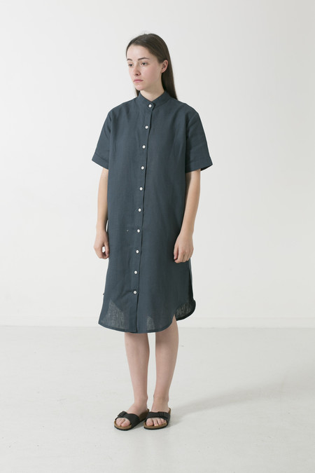 GOOD STUDIOS WOMENS MANDARIN COLLAR SHORT SLEEVE SHIRTDRESS