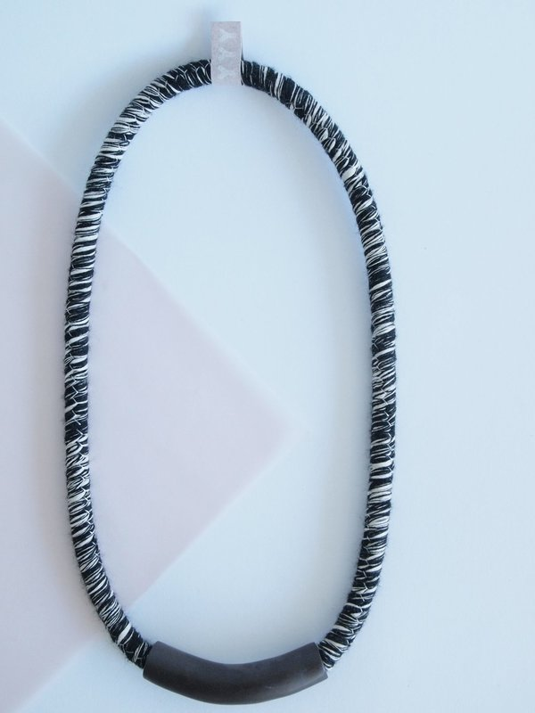 YYY short tube necklace on variegated cord