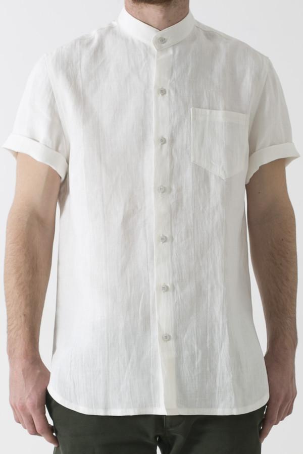 Men's GOOD STUDIOS MENS HEMP LINEN MANDARIN COLLAR SHORT SLEEVE SHIRT