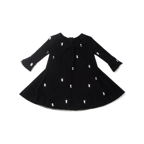 OMAMImini Black Keyhole Print Tent Dress with Tulip Sleeves
