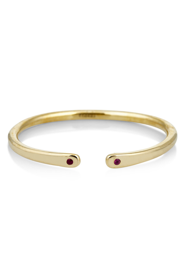 Scosha Brass open cuff with rubies