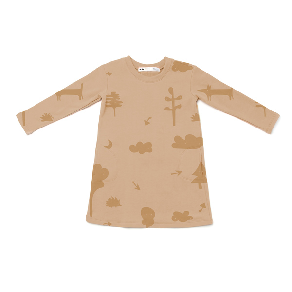 OMAMImini Camel Sweatshirt Dress with Secret Forest Print
